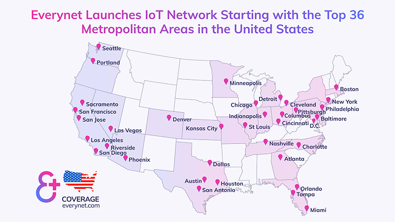 Everynet IoT network coverage map USA