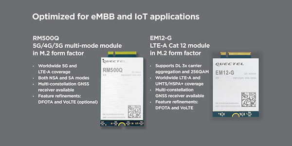 Quectel 5G modules RM500Q and EM12-G