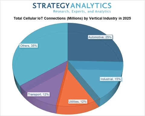Chart: Total Cellular IoT Connections by Vertical (percentage) in 2025