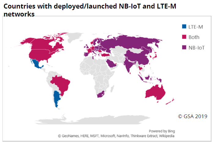 map: Countries with deployed/launched NB-IoT and LTE-M networks
