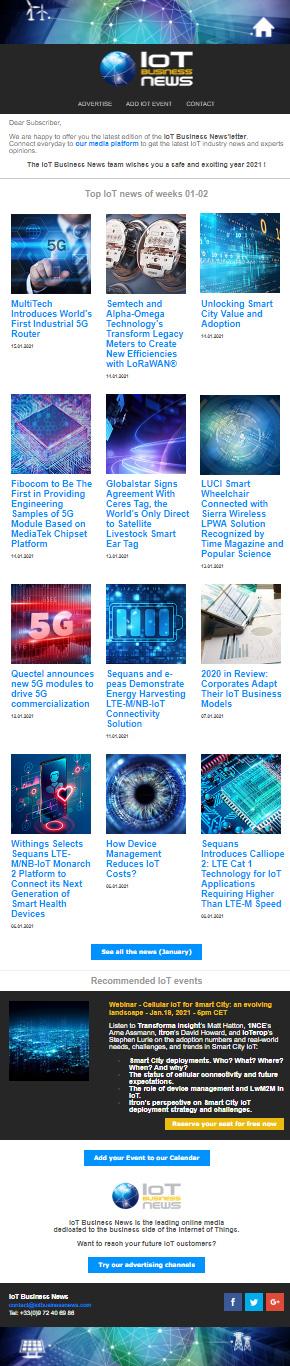 IoT Business News enewsletter January 2021