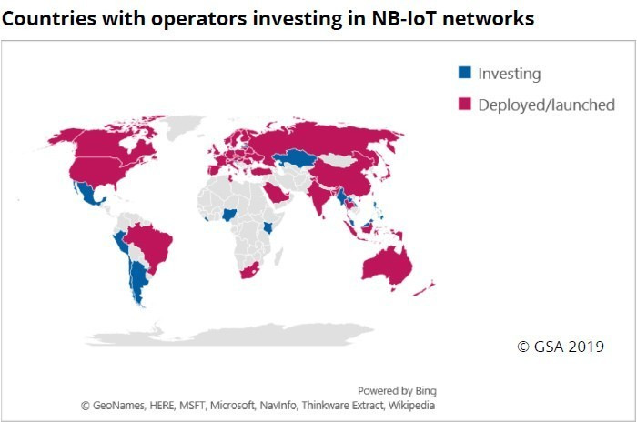 map: Countries with operators investing in NB-IoT networks