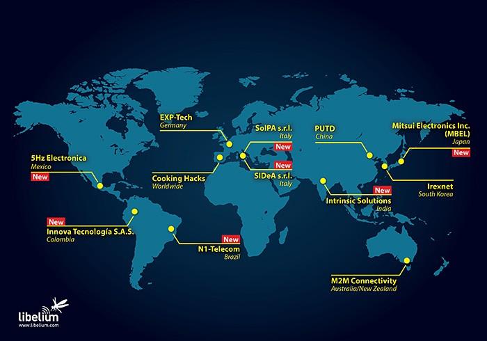 Libelium distributors map