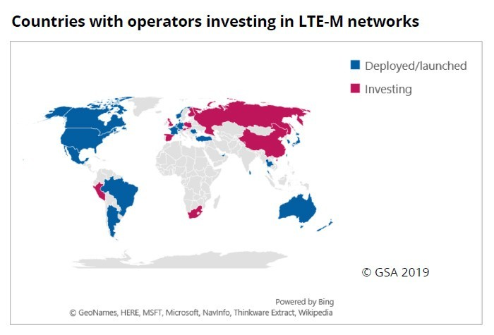 map: Countries with operators investing in LTE-M networks