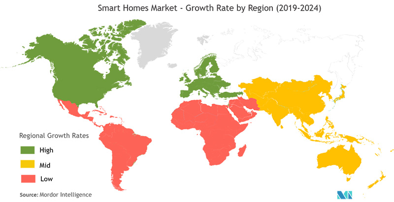 chart: smart homes market growth rate by region 2019-2024